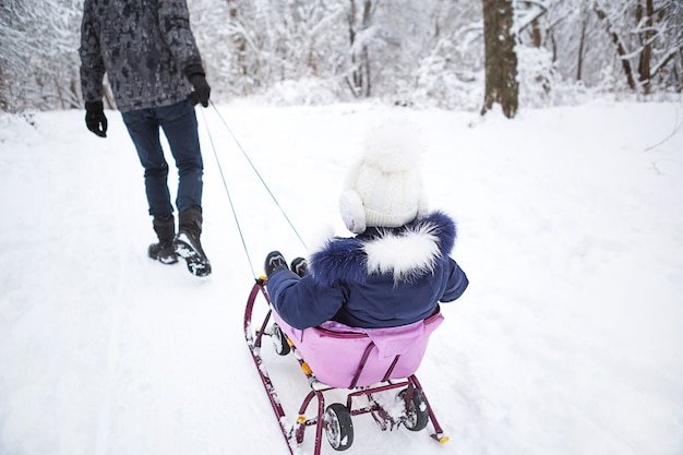 Dad takes his little daughter on a sledge uphill through the winter snow forest. active family outdoor activities