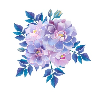 Dahlias watercolor flowers.  purple beautiful flowers. dahlias composition.
