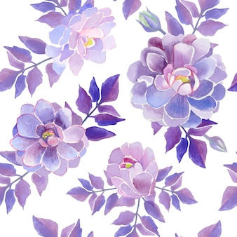 Dahlias watercolor flowers. purple beautiful flowers.