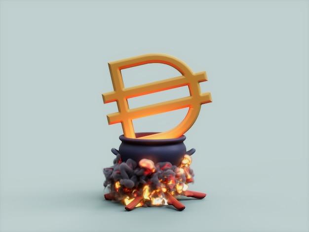 다이 가마솥 화재 요리사 암호화 통화 3d 그림 렌더링