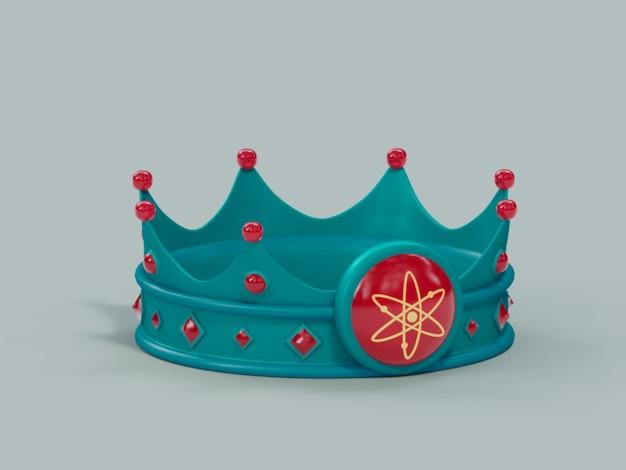 Дай корона король победитель чемпион криптовалюты 3d иллюстрация визуализации