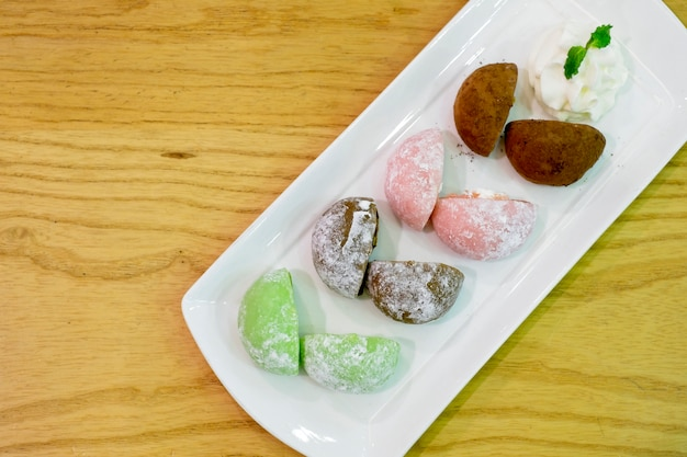 Daifuku, is a japanese confection consisting of a small round mochi stuffed