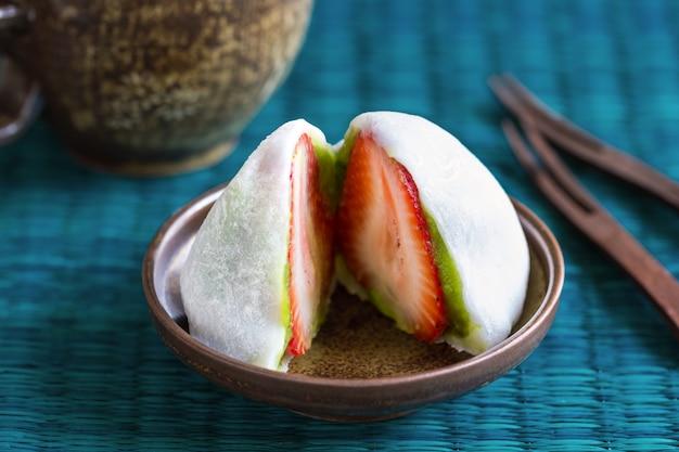 Daifuku with strawberry and green tea filling
