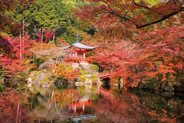 Daigoji temple with autumn maple