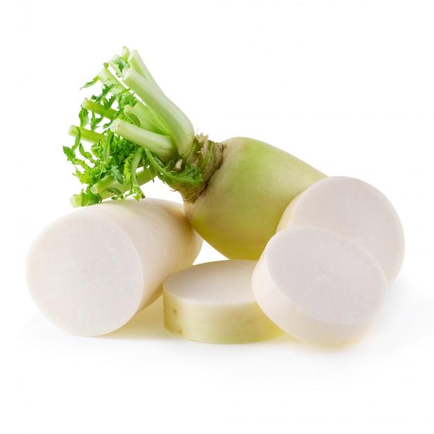 Daikon radishes isolated on a white background