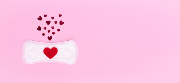 Daily hygienic womens pad and hearts