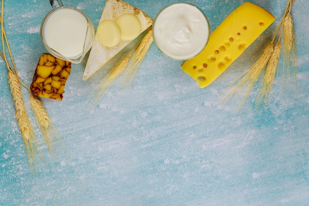 Dairy products on blue surface