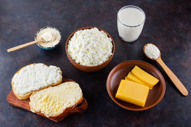 Dairy products cheese and milk