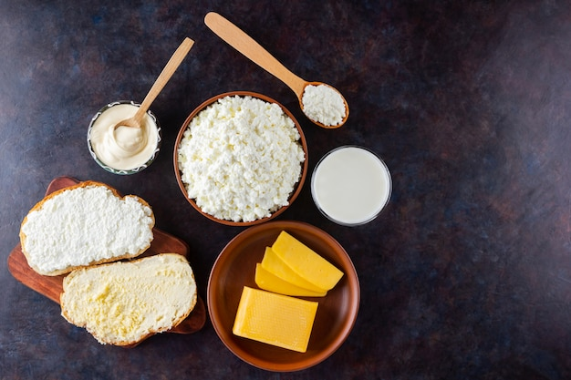 Dairy products cottage cheese and milk