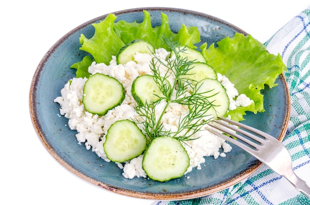 Dairy products. country cottage cheese and green vegetables.