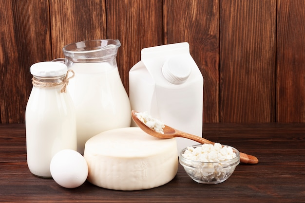 Dairy products in different containers