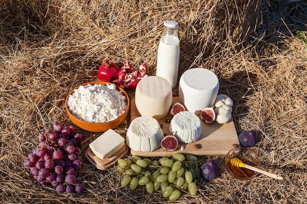 Молочные продукты, молоко, сыр, масло и фрукты с медом на фоне сена различных видов c