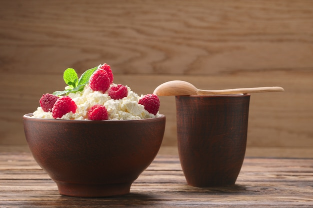 Dairy products: milk, cottage cheese, raspberry and mint