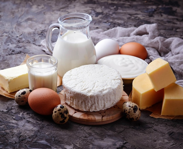 Dairy products. milk, cottage cheese, sour cream, butter, eggs. selective focus