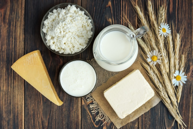 Dairy products. milk, kefir, butter, cottage cheese, eggs and cheese with ears of grain on dark wooden background.