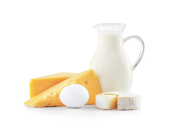 Dairy products on white background