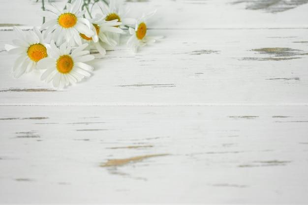 Ромашки на деревянном столе
