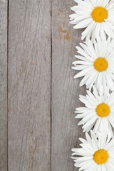 Цветы ромашки ромашки на фоне деревянный стол с копией пространства