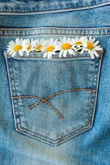 ジーンズの背景にデイジーの花のシームレスなパターン。