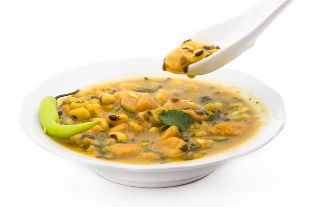 Dal dhokali - indian dish made with canary beans, moong dal and wheat flour