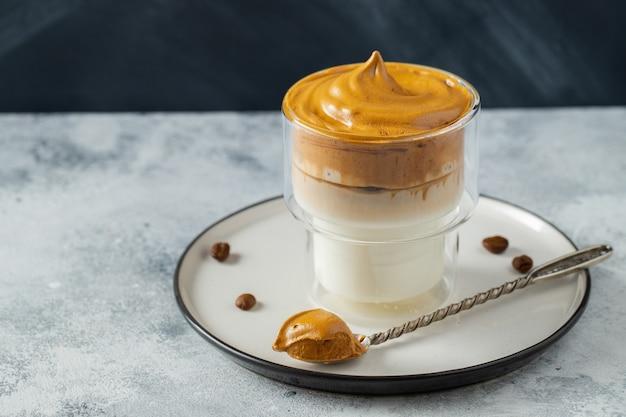 Dalgona coffee. drink with coffee foam and milk