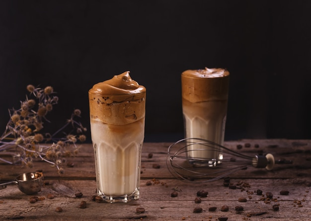 Dalgona coffee. whipped icing drink with instant coffee popular in korea creamy