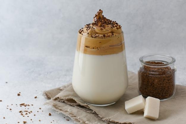 Dalgona coffee with ingredients menu recipe of homemade coffee