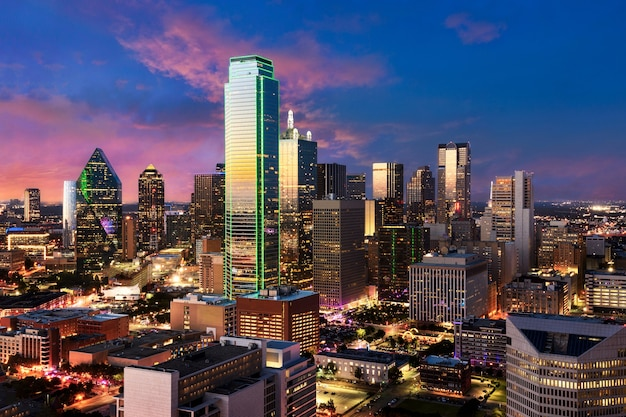 Dallas downtown skyline, texas. colorful sunset view from reunion tower.