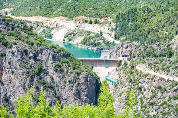 Dam on segre river with blue water in the mountains