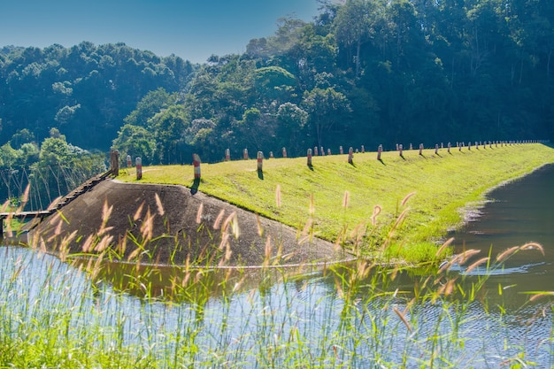 The dam in the valley with walkway for camping pangung lake in the north mae hong son of thailand