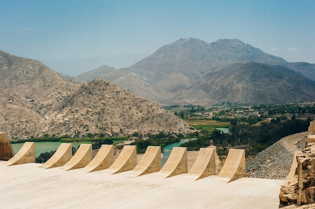 Dam with less water due to drought. water shortages of water storage dams.