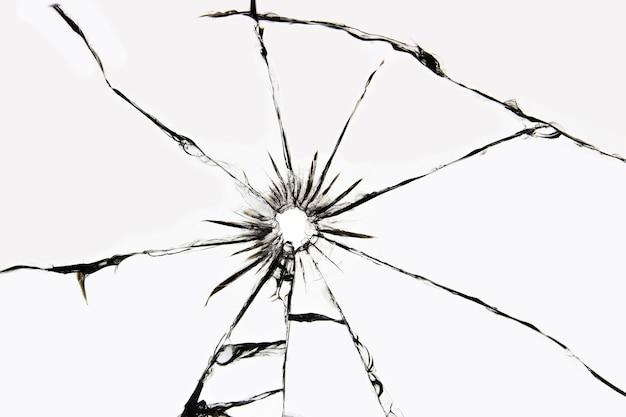 균열이있는 손상된 유리, 샷에서 유리에 균열 프리미엄 사진