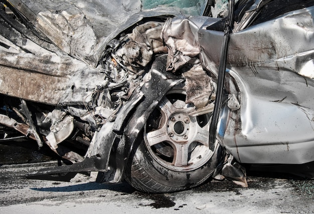 Damaged vehicle after car crash.