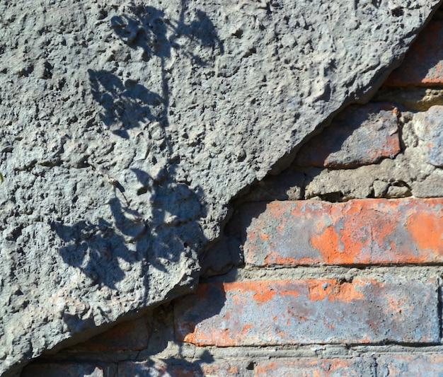 破損した壁 - レンガと漆喰