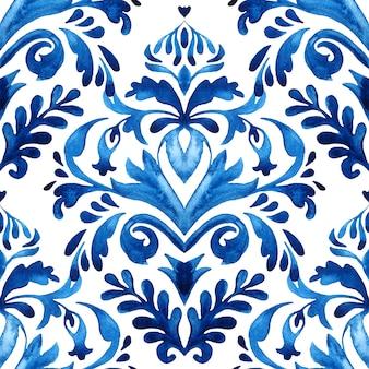 布とセラミックのダマスクペイントタイルパターン