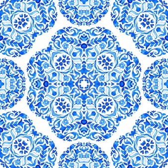 Damask seamless watercolor pattern from blue and white oriental tiles, ornaments. can be used for wallpaper, backgrounds, decoration for your design, ceramic, page fill and more.