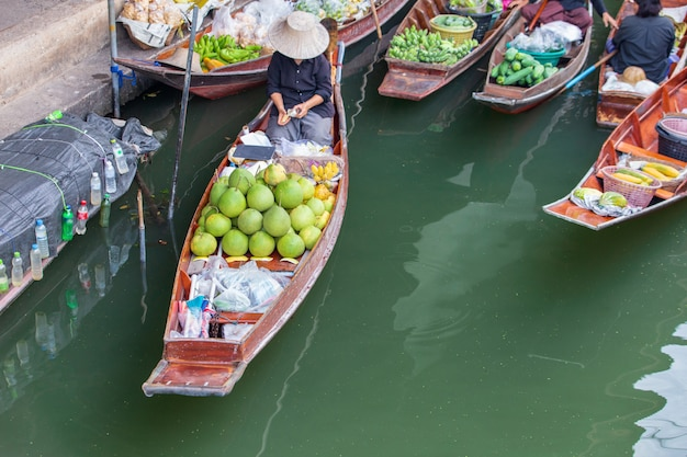 Damnoen saduak floating market near bangkok in thailand