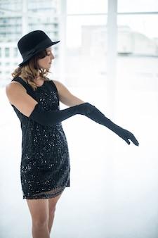 Dancer wearing gloves