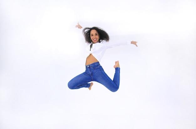 Dancer women jumping midair