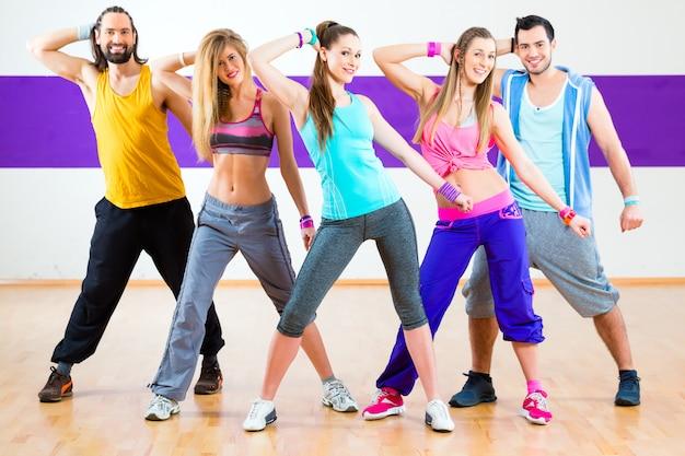 Dancer at zumba fitness training in dance studio
