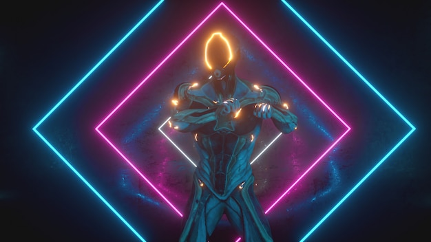 Dancing alien robot on a metal background with bright neon lights