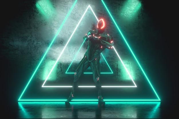 明るいネオンと金属の背景にエイリアンロボットを踊る