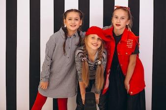 Dancing team in studio