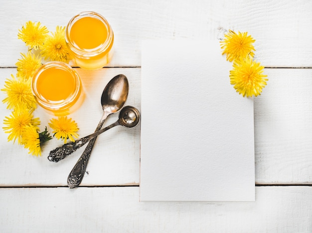 Dandelions, notebook with a blank page