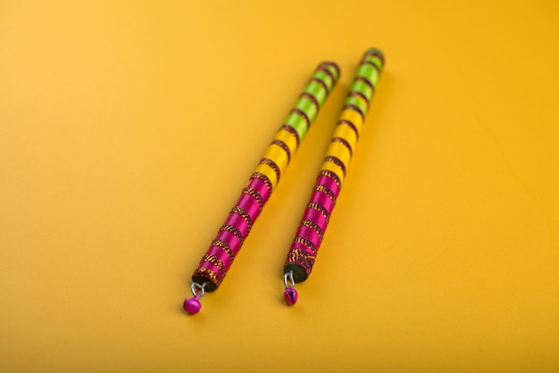Dandiya sticks. raas garba or dandiya raas is the traditional folk dance form the state of gujarat & rajasthan in india.