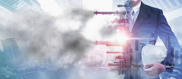 従来の電力による大気汚染の危険。