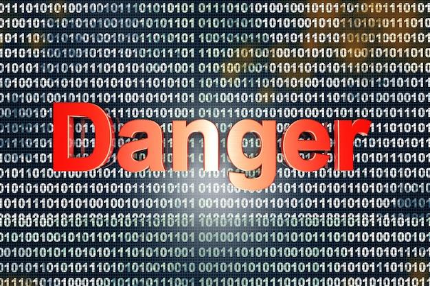 Знак опасности над цифровым двоичным кодом. 3d иллюстрации.