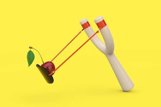 위험 나무 새총 장난감 무기와 노란색 배경에 잎이 있는 신선한 체리 과일. 3d 렌더링