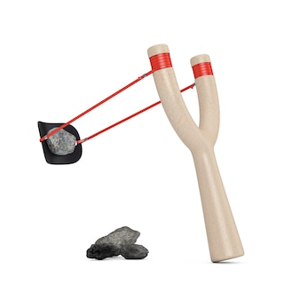 흰색 바탕에 돌이 있는 위험 나무 새총 장난감 무기. 3d 렌더링