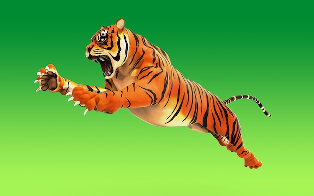 Dangerous bengal tiger roaring and jumping isolated on green background